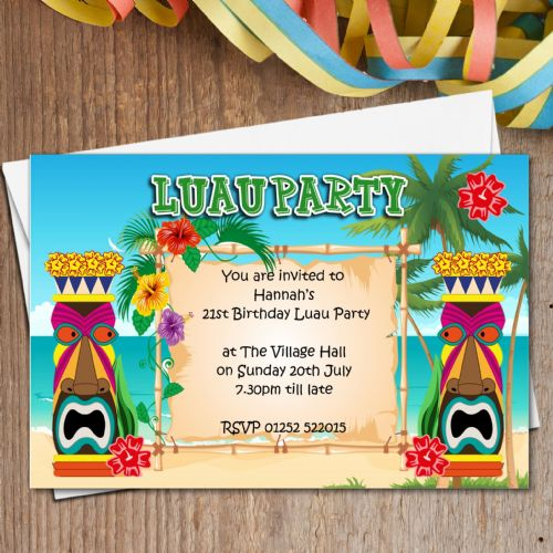 10 Personalised LUAU Hawaii Party Invitations N165
